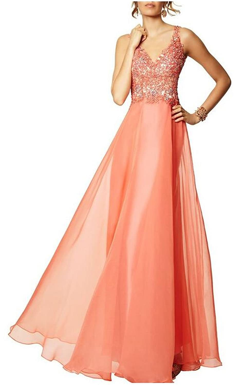 SimpleDressUK 2016 FormalA-line V-neck Beading Chiffon Prom Dresses