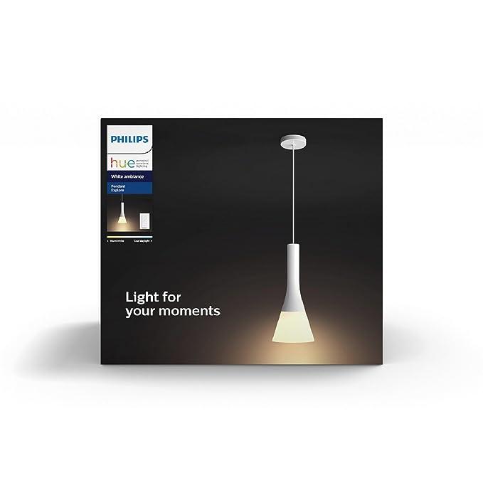 Philips Hue Explore - Lámpara colgante de techo LED con mando, luz regulable de blanca cálida a fría, Iluminación inteligente, compatible con Amazon ...
