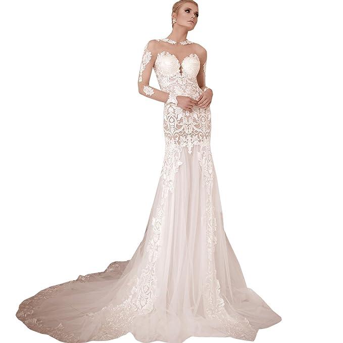 dressvip - Vestido de novia - Manga Larga - Mujer blanco blanco 32