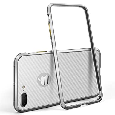 4c8d984c69c iPhone 7 Plus Case, Premium Ultra-thin Aluminum Rhino Shield Light Weight  Bumper with Rear Sticker for Apple iPhone 7 Plus (Silver): Amazon.co.uk: ...