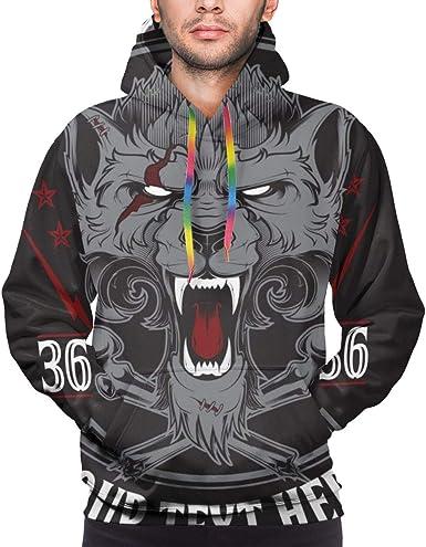 Sudadera con Capucha para Hombre Head of Roaring Wolf. Ilustración Vectorial Camisa de Entrenamiento: Amazon.es: Ropa y accesorios