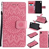 For Sony Xperia M4/M4 Aqua Case [Pink],Cozy Hut [Wallet Case] Magnetic Flip Book Style Cover Case ,High Quality Classic New design Sunflower Pattern Design Premium PU Leather Folding Wallet Case With [Lanyard Strap] and [Credit Card Slots] Stand Function Folio Protective Holder Perfect Fit For Sony Xperia M4/M4 Aqua 5,0 inch - Pink