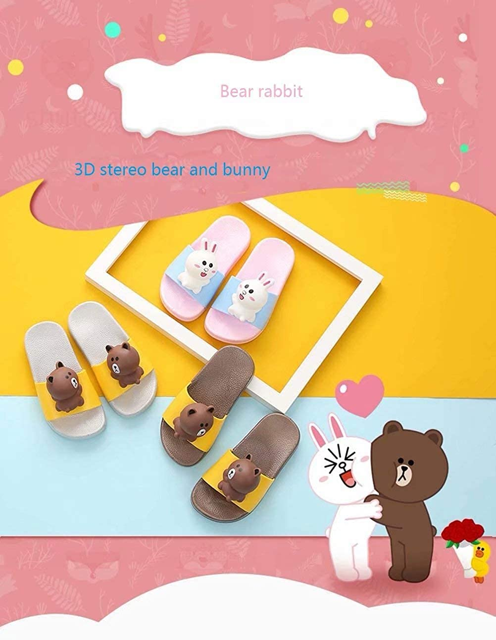 Onebycitess Kids Bath Slippers Beach Sandals Shower Shoes Inside Outside Anti-Slip 3D Bear Bunny for Toddler Girls Boys