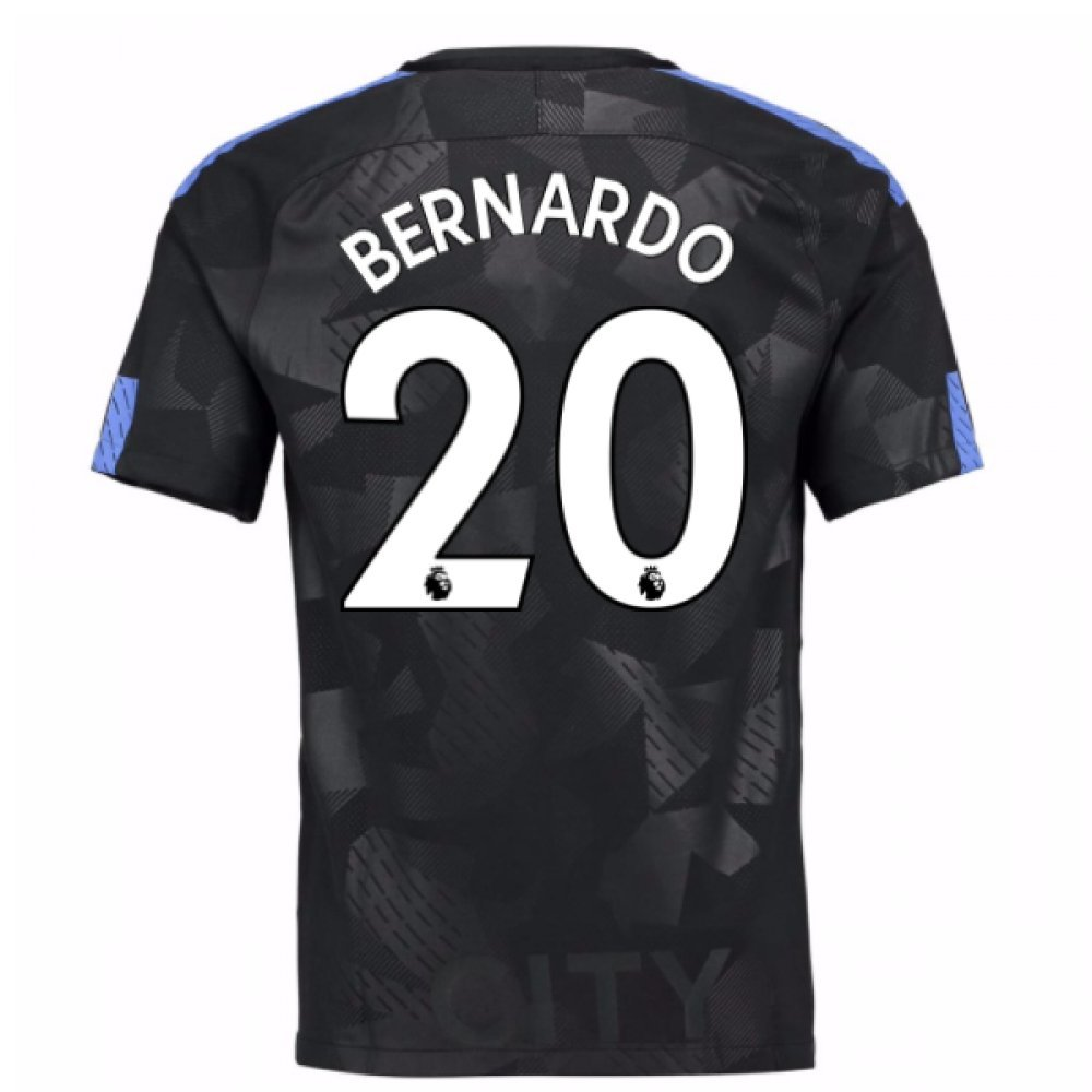 2017-18 Man City Third Football Soccer T-Shirt Trikot (Bernardo Silva 20) - Kids