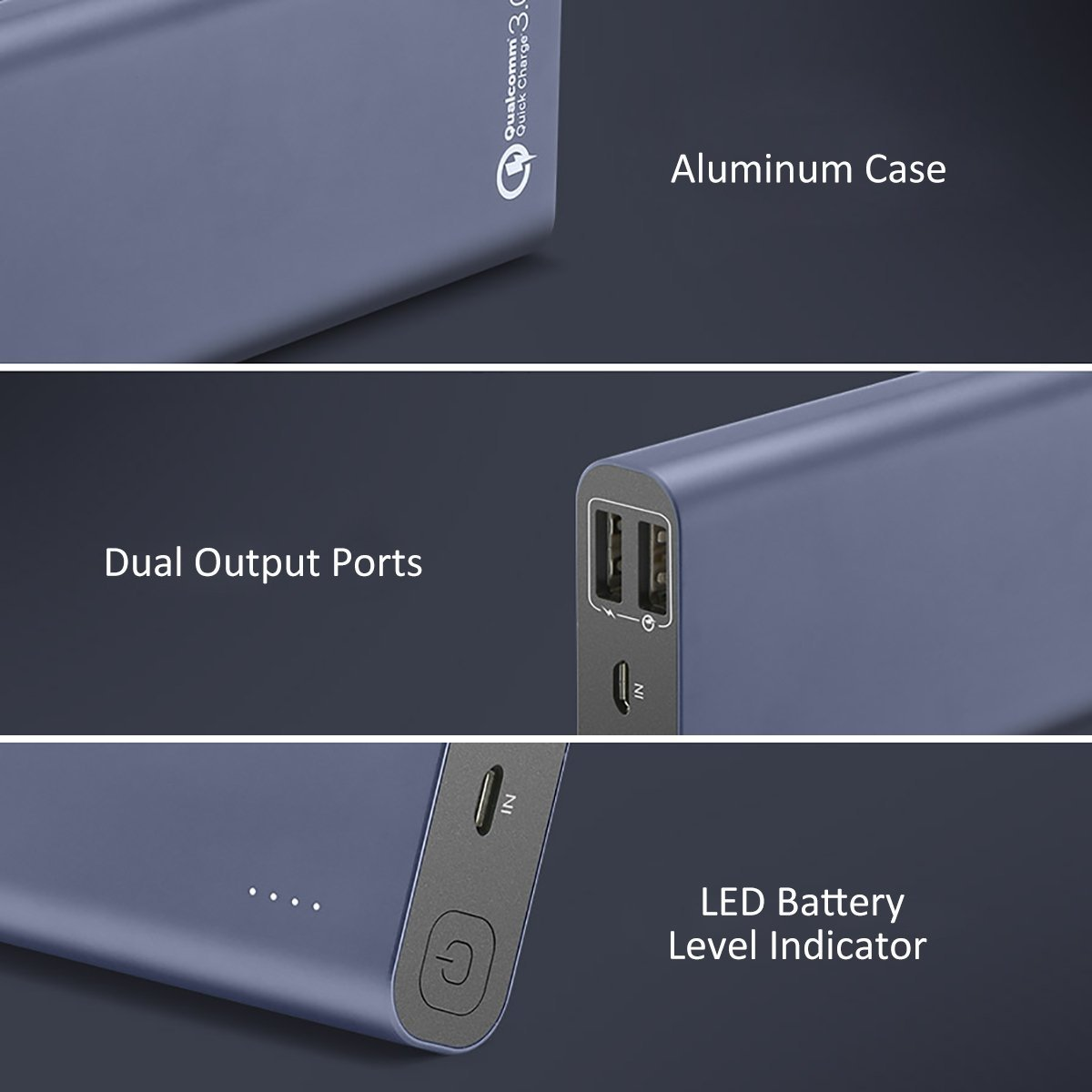 Power Bank 15600mAh Dual USB - BlitzWolf Qualcomm Quick Charge 3.0 Portable Charger with Micro USB Cable, Compact External Battery Pack with Power 3S Tech for iPhone Samsung Android Phone Tablets