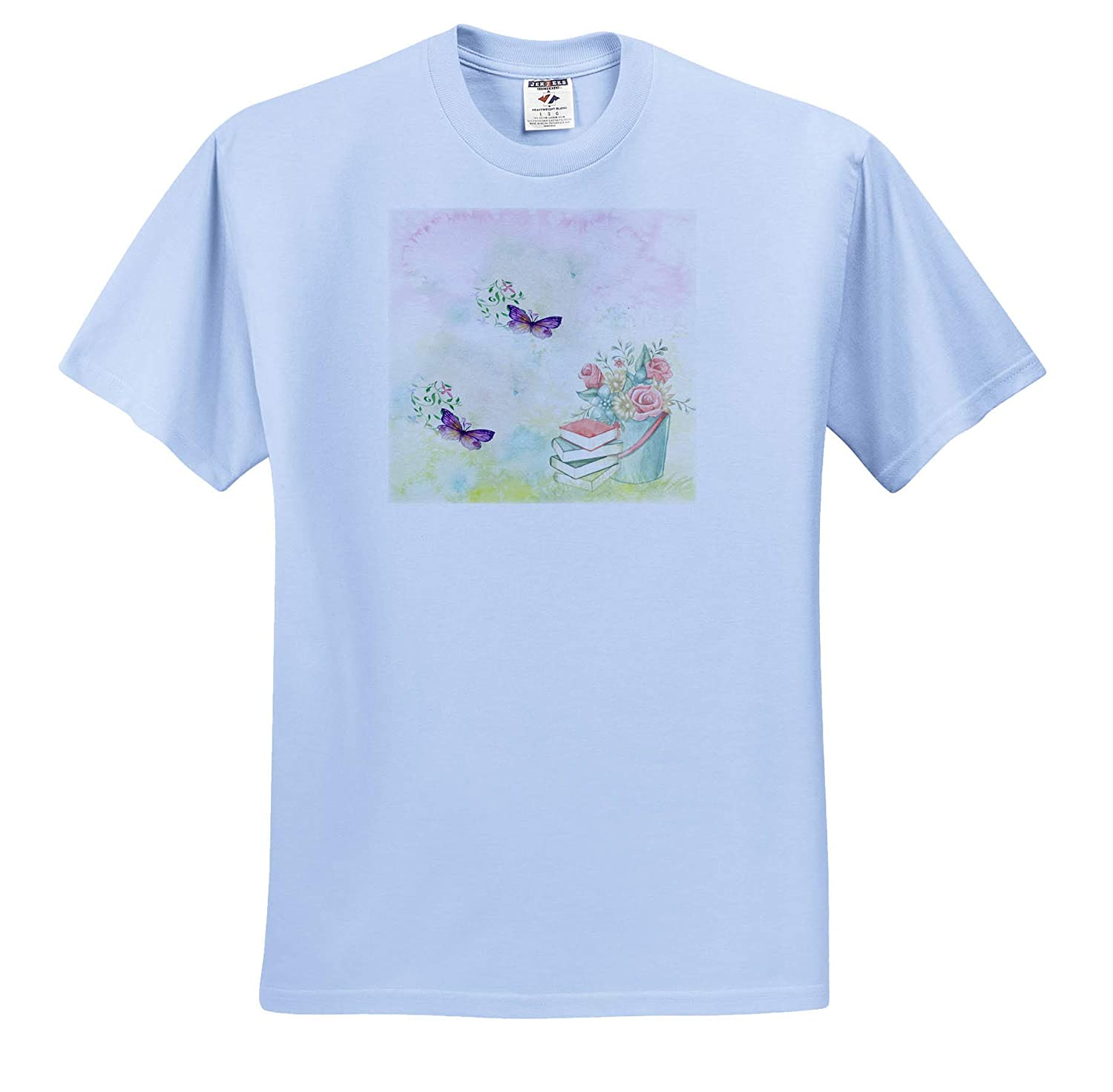 T-Shirts Image of Purple Butterflies Float Near Pail of Roses and Books Watercolor Art 3dRose Lens Art by Florene
