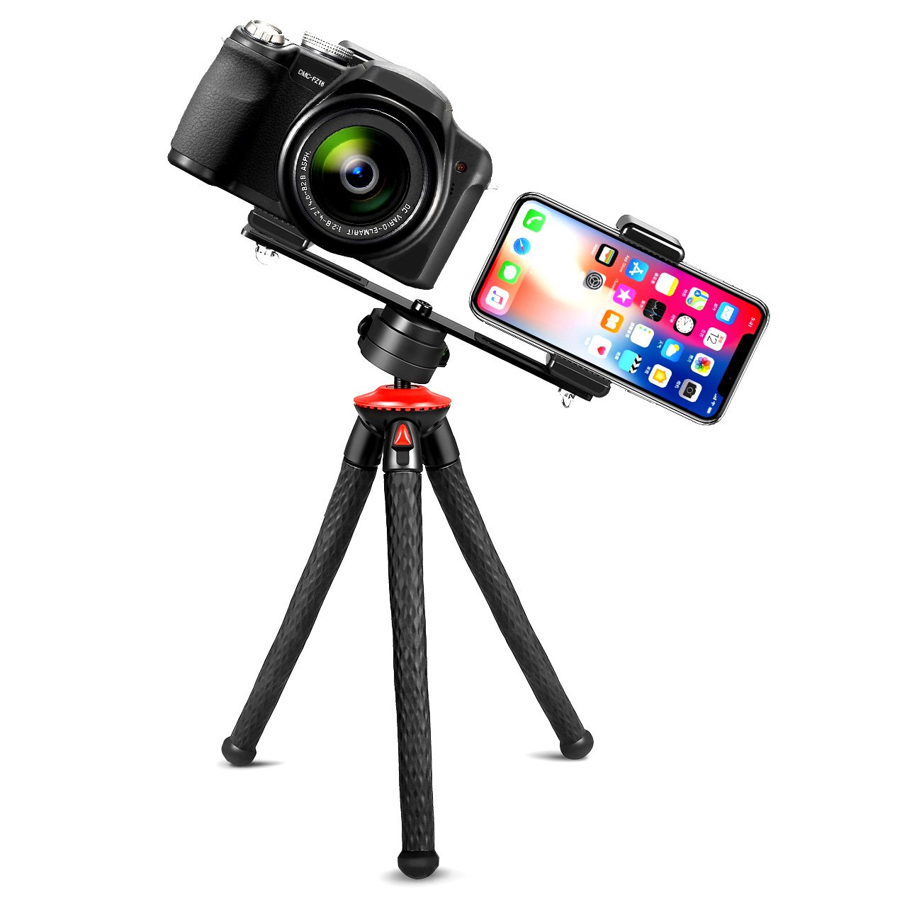 Camera Tripod, Fotopro Phone Tripod with Dual 1/4'' Screw Camera Mount Tripod Bracket for Smartphone, Portable with Bluetooth Remote Control, Gopro Adapter, Phone Adapter for iPhone, Samsung