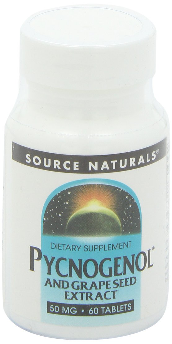 Source Naturals Pycnogenol With Grape Seed Extract 50mg (formerly Proanidin 50) Herbal Antioxidant French Maritime Pine Bark Extract - 60 Tablets