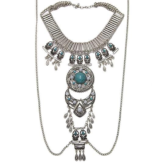 Guirui Jewelry Damen Ethnischen Stil Retro Persönlichkeit Legierung Strass Quaste Halskette Körperkette Körper Schmuck
