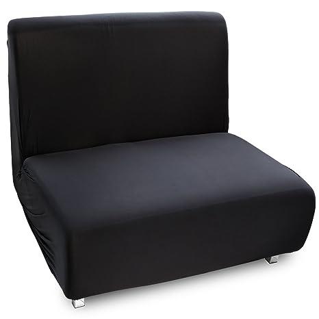 Fundas de Mueble para sofás Cama Clic-Clac Brazos de Madera Funda de Sofá Elástica Ajustable (1 Plaza, Negro)