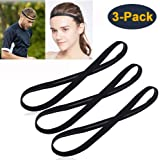 [3 Pack] Heyus Anti-Slip Thin Elastic Black Sports Headbands Yoga Head Band Sweatband Sweat Band for Men and Women nisex…