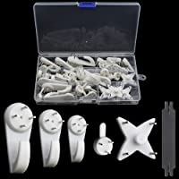DXLing 30 Pieces Non Trace Wall Hooks Photo Frame Hanger Hook Picture Hanging Hooks Set Clock Hook Support Wall Studs…