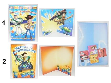 Carte Double Anniversaire Toy Story Disney Enveloppe Amazonfr