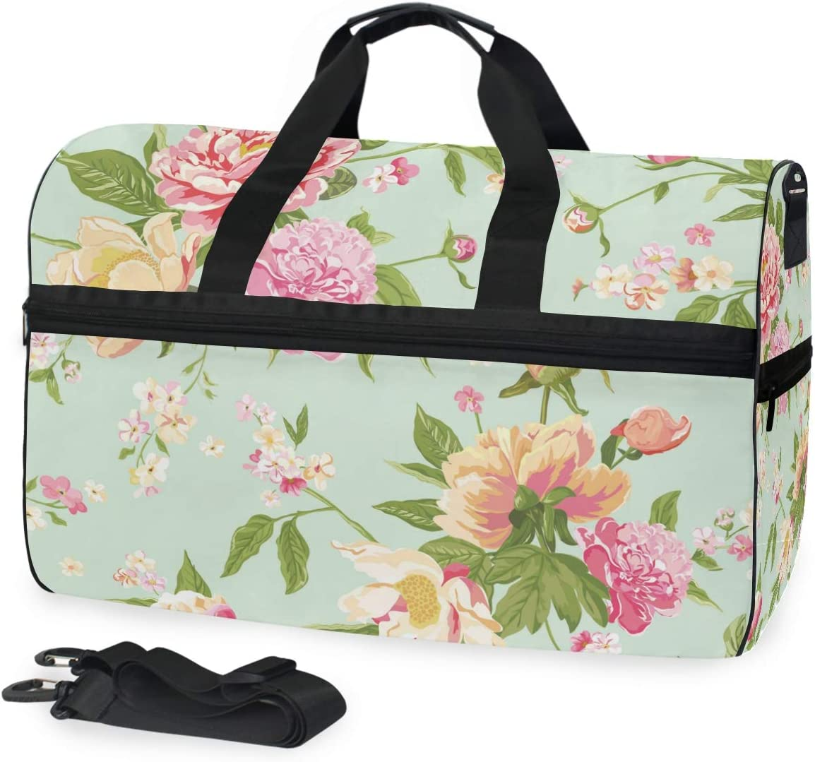 Travel Duffels Pink Rose Duffle Bag Luggage Sports Gym for Women /& Men