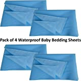 Rite Clique Water Proof Washable and Reusable Mattress/Bed Protector Dry Sheets Pack of 4 (100cm X 75cm, Medium) - Sky Blue