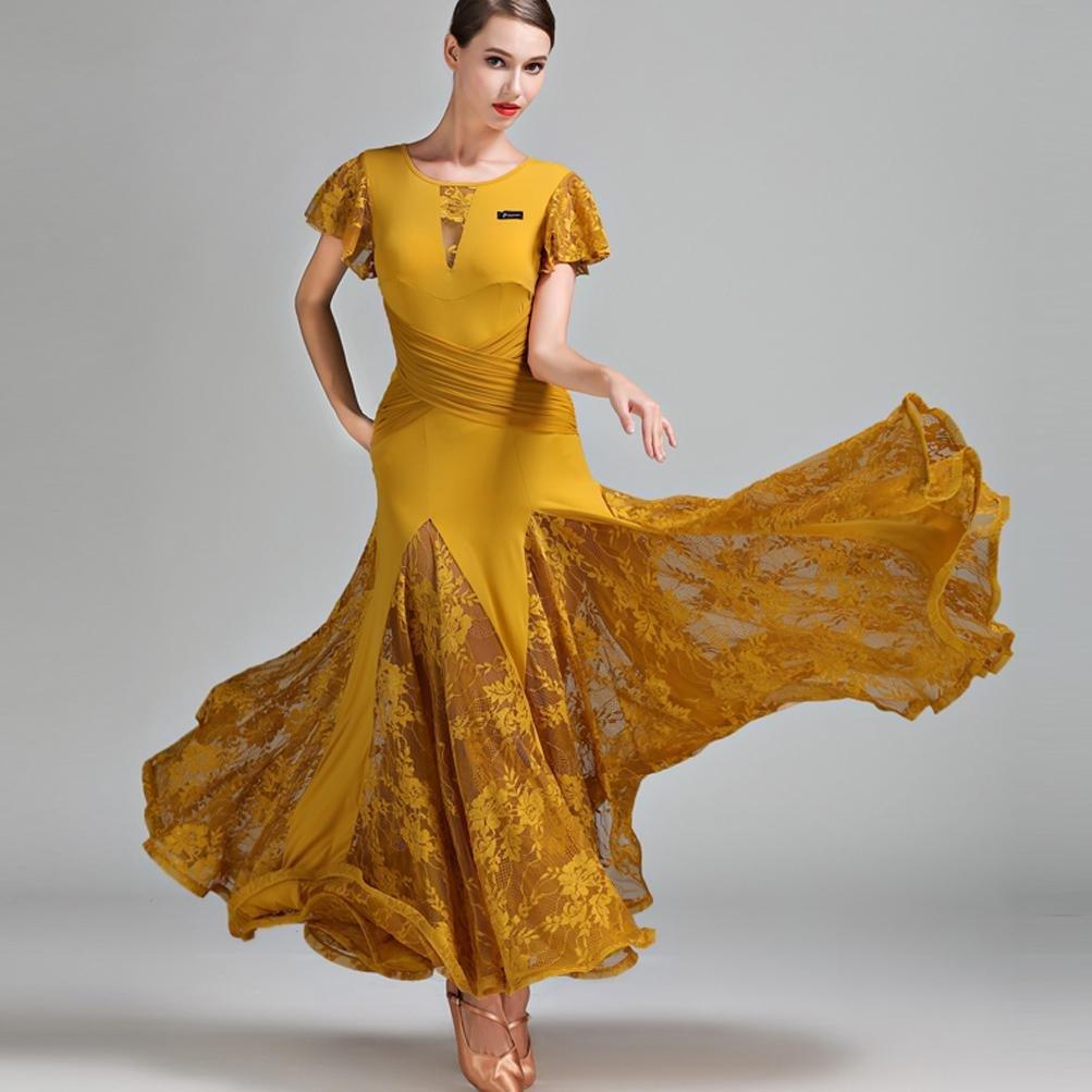 Ginger jaune XXL Feuille de Lotus Manches Dentelle Grande Balançoire Robes de Danse Moderne pour Femme Exécution Waltz Robes de Danse