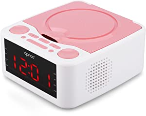 dpnao Small Alarm Clock FM Radio with CD Player, USB Port, AUX Input, Remote Control, Headphone Jack for Home Kids(Pink)