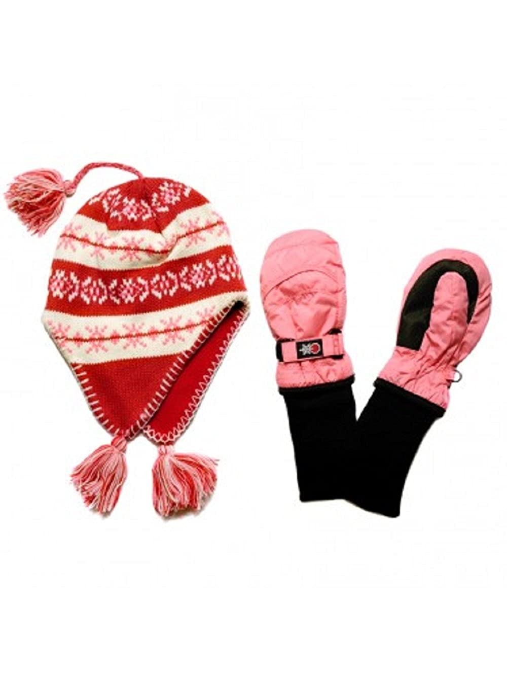 SnowStoppers Kids Nylon Mittens and Sherpa Knit Hat Sets