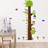 Cartoon Owl On The Tree Children Height Measure Wall Stickers Kids Room Wall Sticker Home Decoration
