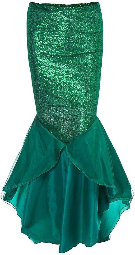 IBAKOM Disfraz de Sirena de Lentejuelas Brillantes para Mujer ...
