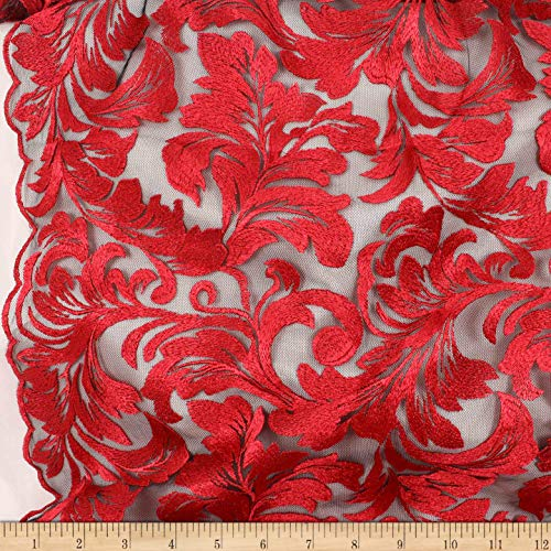 Telio Damask Mesh Embroidery Fabric, Red, Fabric By The Yard