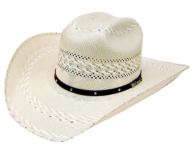 b1d07b3ee Modestone Traditional 2 Tone Rodeo Straw Cowboy Hat Beige: Amazon.co ...
