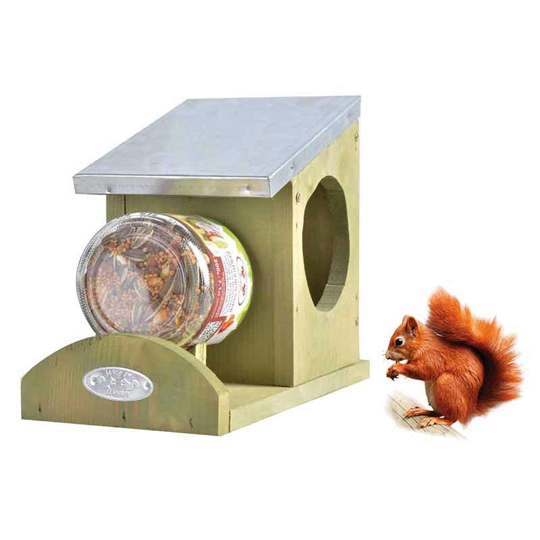 SIDCO Eichhörnchen Futterhaus Erdnussbutterhaus Futterstation + Eichhörnchenfutter