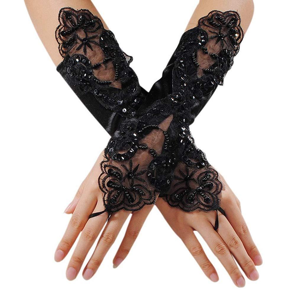 Glitter Spitze der verheirateten Frauen Handschuhe Samthandschuhen Sch/öne bezieht sich lange gestickt auf die mittlere Gr/ö/ße des Handgelenks des Abends Brauthandschuh-Schwarz