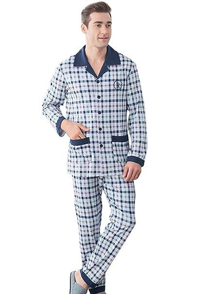 LvRao - Pijama de dos piezas - Algodón Caliente - Manga Larga de Pijamas - Botones