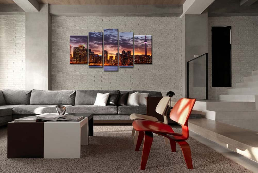 Amazon.com: So Crazy Art 5 Piece Wall Art Painting Toronto Skyline In  Sunset Prints On Canvas The Picture City Pictures Oil For Home Modern  Decoration Print ...