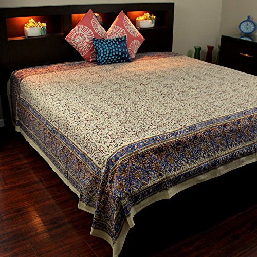 Homestead Block Print Tapestry Wall Hanging Cotton Floral Tablecloth Thin Bedspread Beach Sheet Dorm Decor (Blue Red Tan, Full 88 x 108)