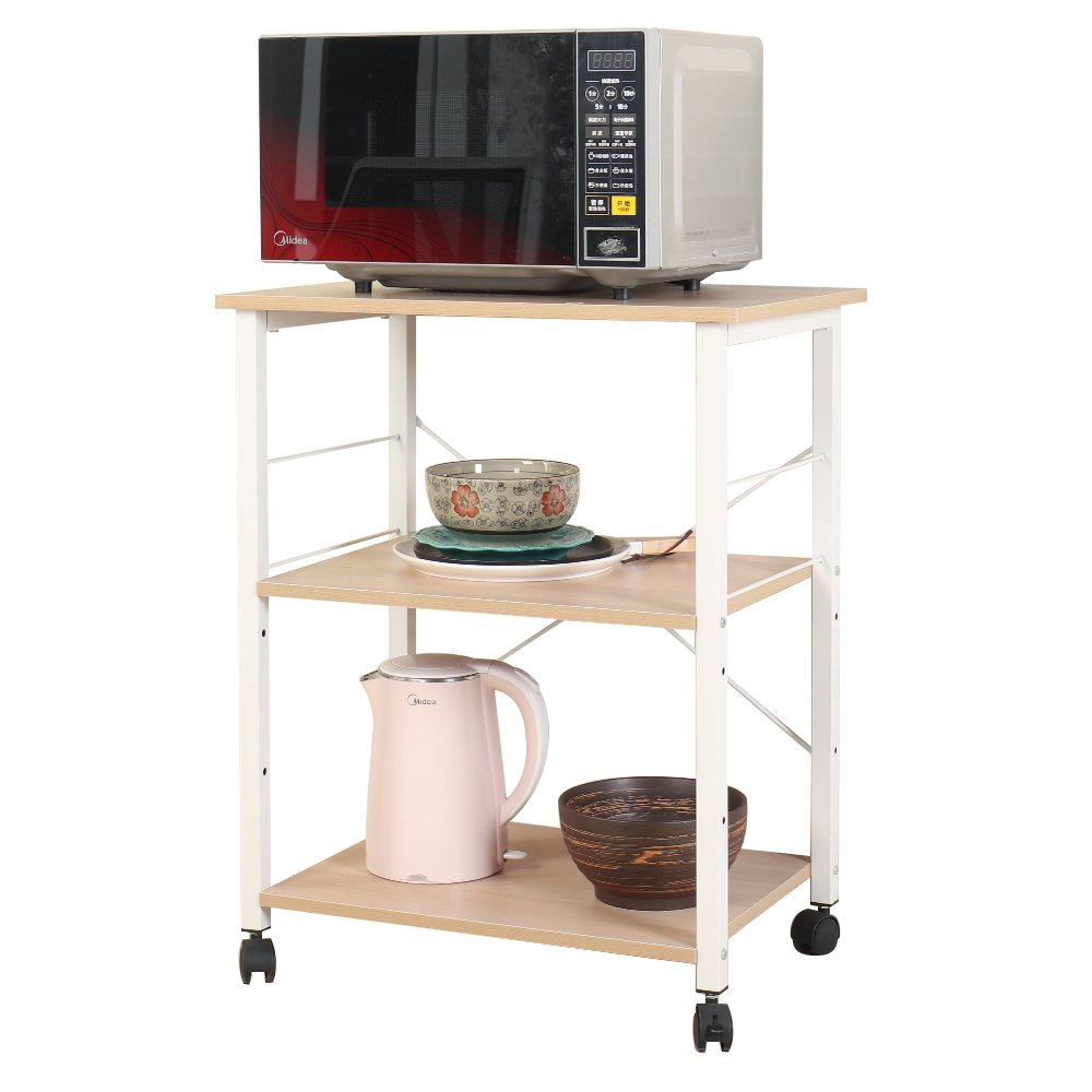 SogesPower 3-Tier Kitchen Baker's Rack Movable Microwave Stand Storage Rack, White Maple by SogesPower