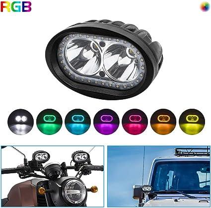 BeiLan RGB Cambio de color Faros Auxiliares de Moto,20W Foco LED ...