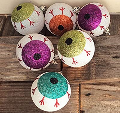 AH Halloween Decor - Spooky Eyeballs Glitter Ornaments 70mm 6pc. #015-642