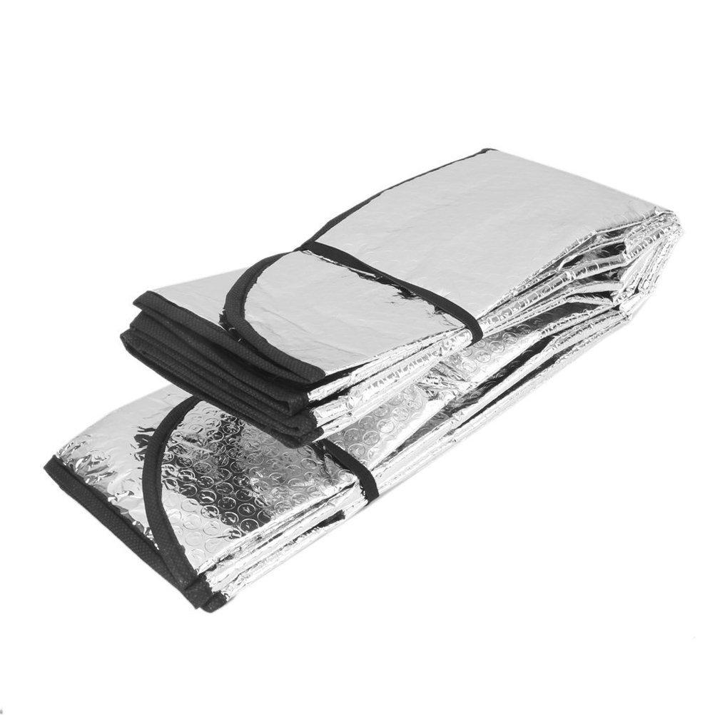 WINOMO 140*70cm Car Sunshade Solar Reflective Silver Front Windowshield Sun Shade Double UV Rays Block