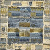 Unique Loom Outdoor Collection Rustic Abstract Transitional Indoor and Outdoor Blue Square Rug (6′ x 6′) Review
