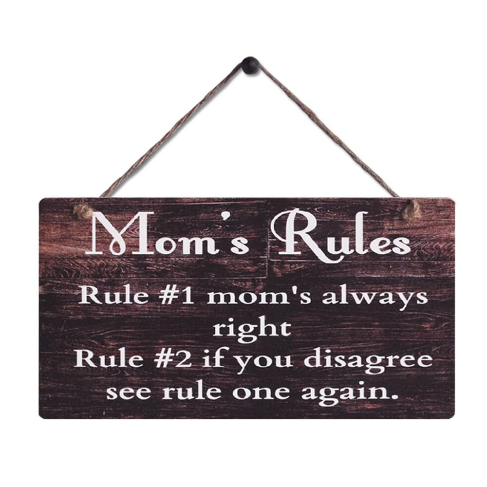 "Rustic Wood Sign Wall Hanging Plaque Vintage Style Mom's Rules Motto Sign Size 11.5"" x 6"""