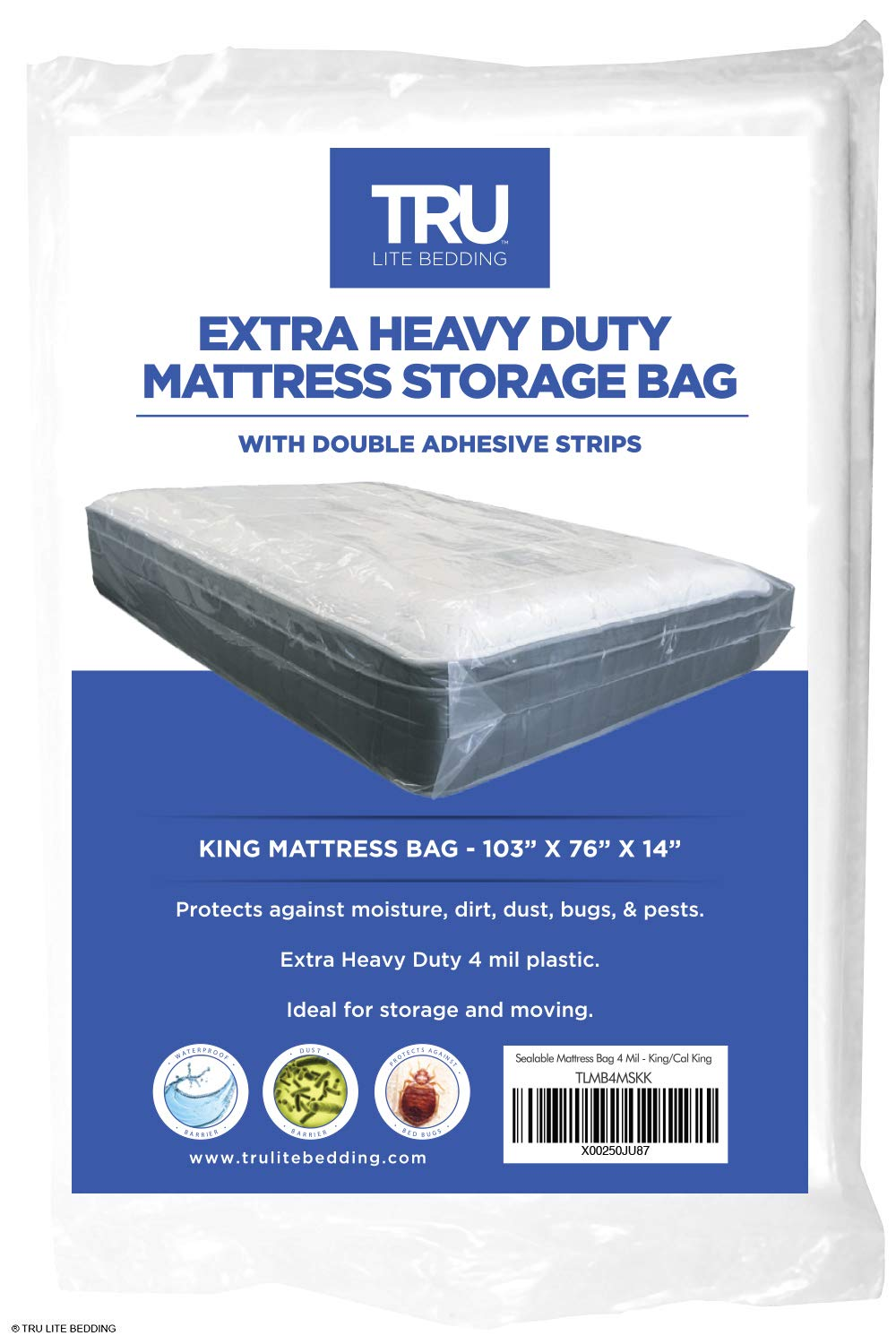 TRU Lite Mattress Storage Bag - SEALABLE Mattress Bag for Moving - Heavy Duty Extra Thick 4 Mil Plastic - Fits Standard, Extra Long, Pillow Top Sizes - King Size
