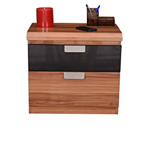 Royaloak Daffodil Bedside Table with Double Drawers (Brown)