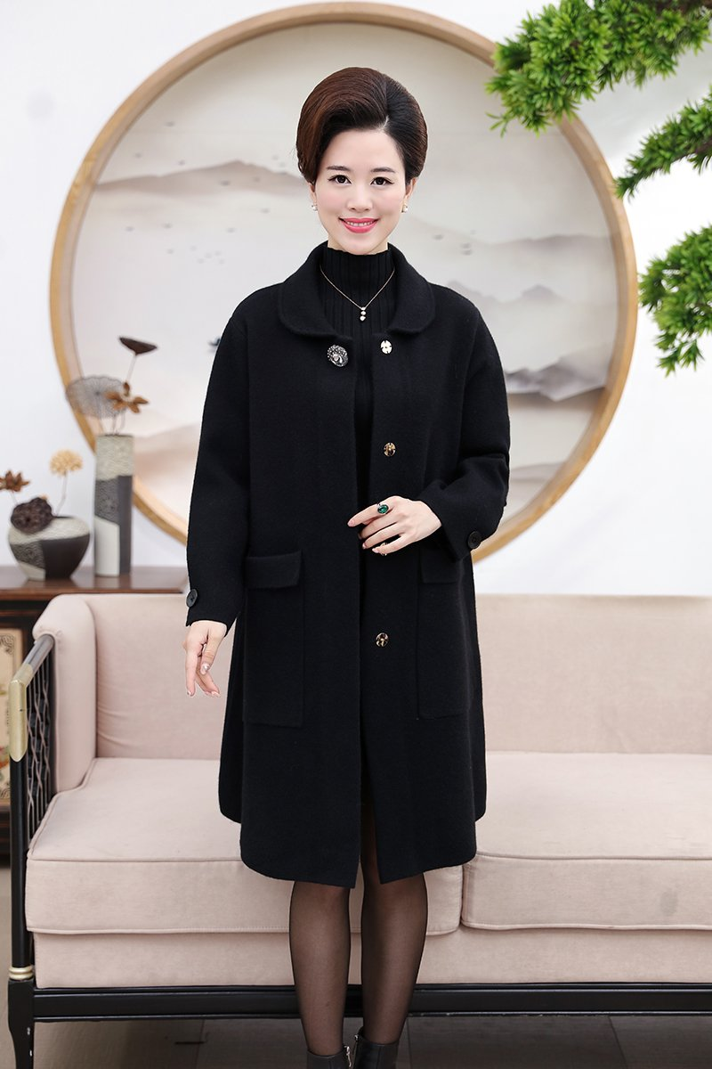 Generic Women fall and winter clothes in long sweater coat mother dress coat solid color loose long-sleeved woolen coat for women girl