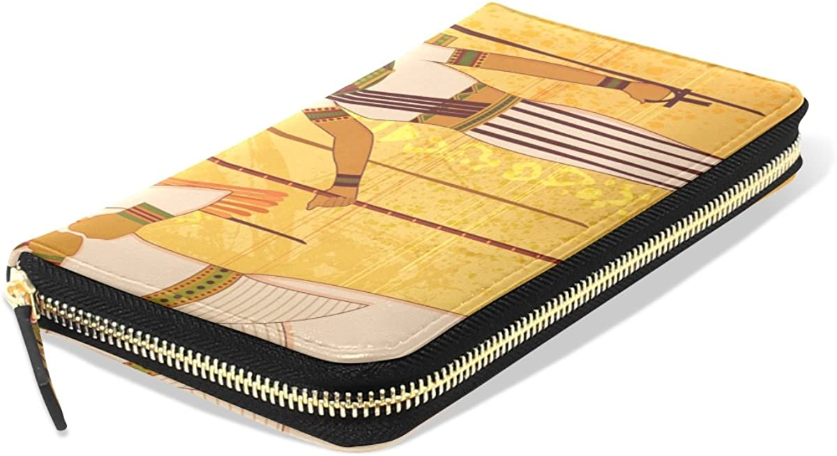 Womens Antique Egyptian And Hieroglyph Pattern Long Wallet /& Purse Case Card Holder