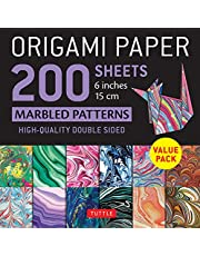 """Origami Paper 200 sheets Marbled Patterns 6"""" (15 cm): Tuttle Origami Paper: High-Quality Double Sided Origami Sheets Printed with 12 Different Patterns (Instructions for 6 Projects Included)"""