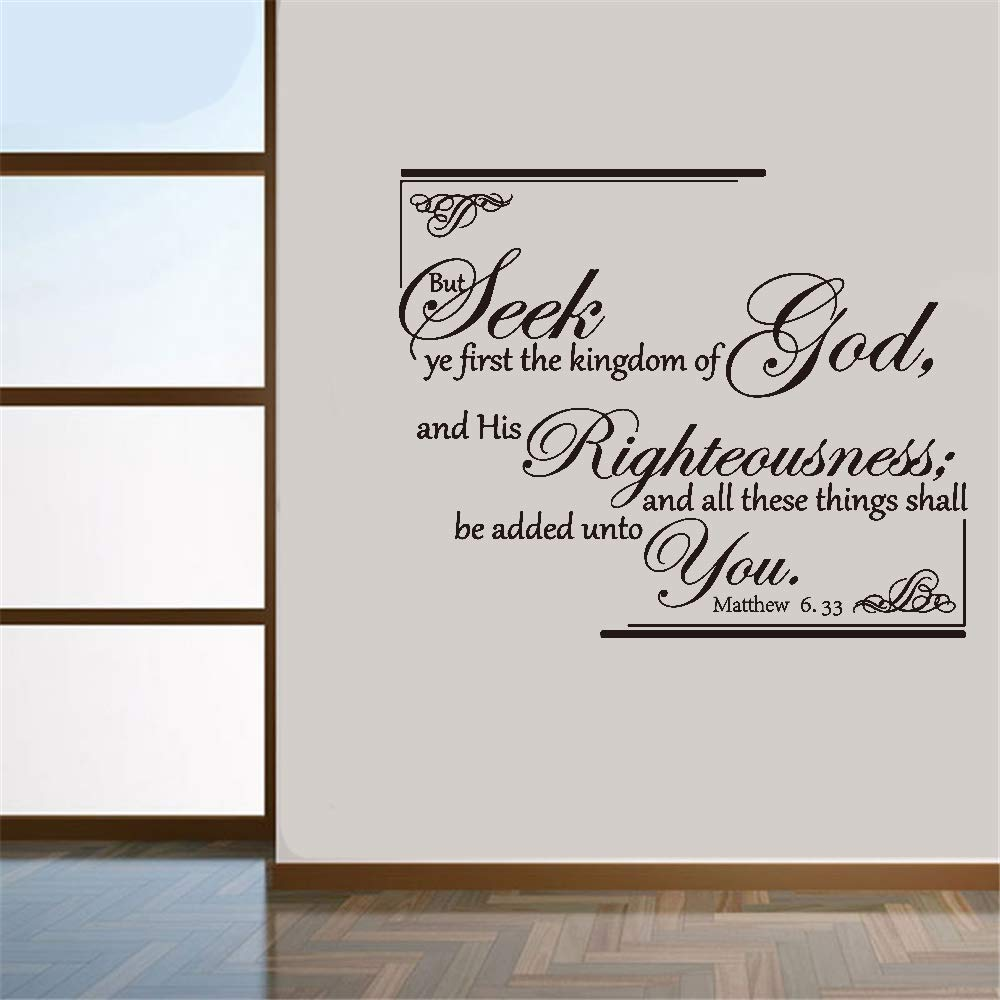 Vinyl Wall Decal Wall Stickers Art Decor Wall Decal Quote But Seek Ye First The Kingdom of God and His Righteousness and All These Things Shall Be Added Unto You Matthew 6:33 Vinyl Deecal Wall Decor