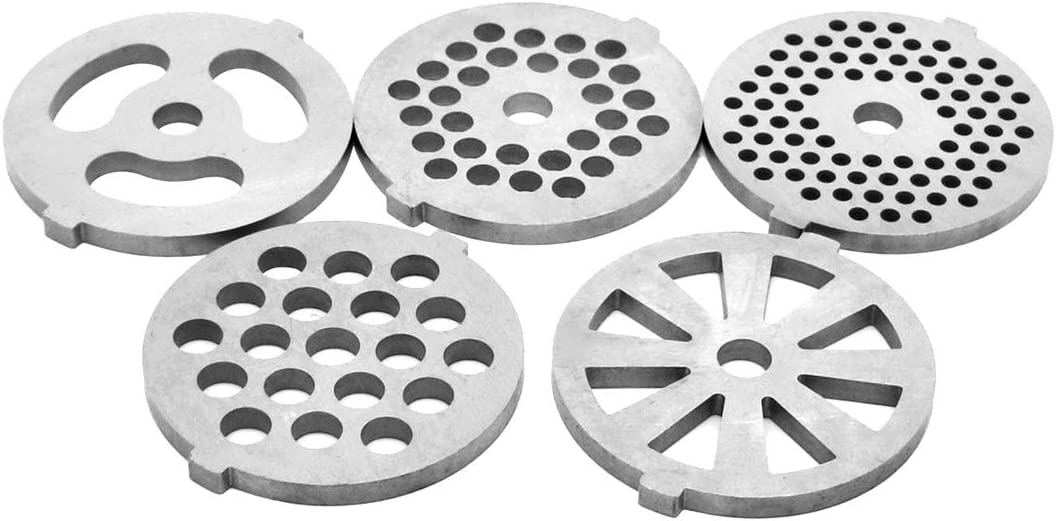 5 Piece Stainless Steel Meat Grinder Plates Discs for Food Chopper and Meat Grinder Machinery Parts