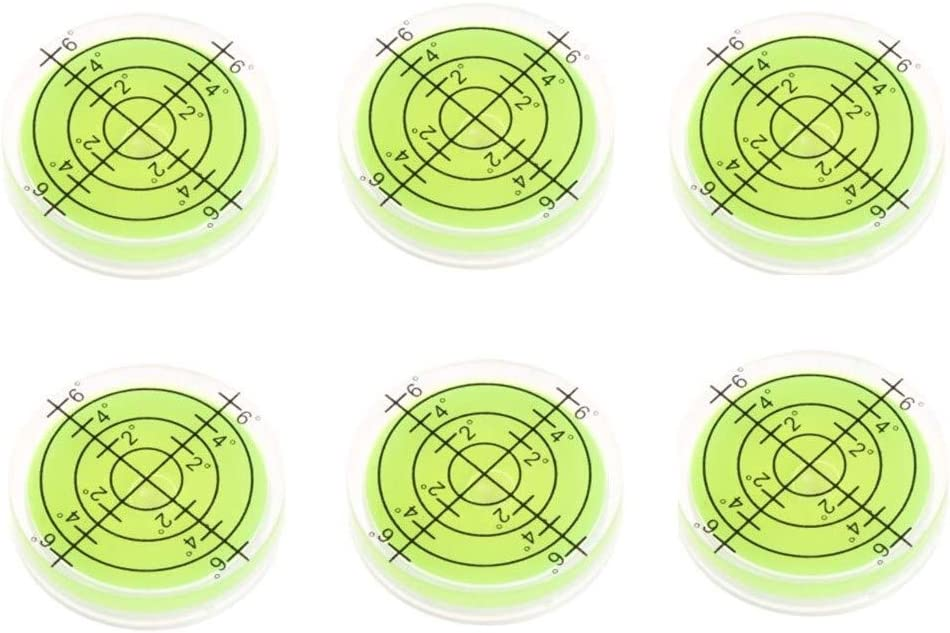 6Pcs/Set Bubble Level Bullseye Bullseye Spirit Levels 32x7mm Degree Marked Surface Spirit Level Inclinometers for Camera Tripod Furniture Frame Level Measuring Instrument Layout Tool