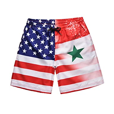 e5f1fe42507 Amazon.com  Men s 2019 Fashion Star Striped Flag Print Swim Trunks Cuekondy  Summer Casual Elastic Waist Surf Swimming Beach Shorts  Clothing