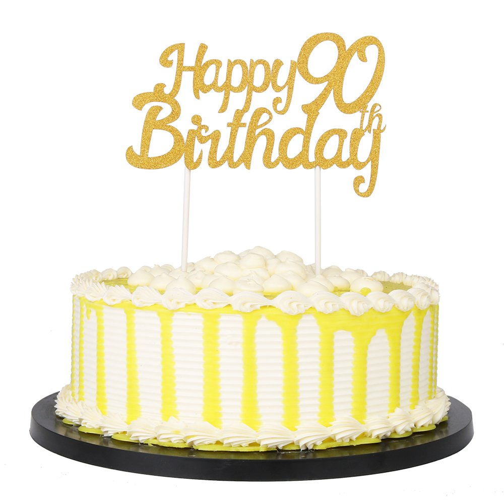 90th Gold PALASASA Single Sided Glitter Happy Birthday Cake Toppers Decorations Tool Party Supplies