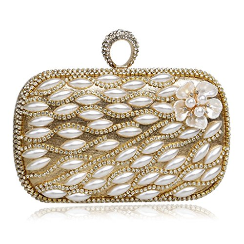 Gold Clutches Ladies Color Gold Luxury KERVINFENDRIYUN Banquets Flowers Pearls Evening Handbag Bags wPTd7q