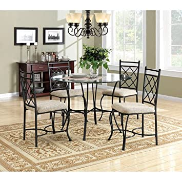 kitchen dinette set dining room furniture 5 piece metal glass top table chairs - Kitchen Glass Table