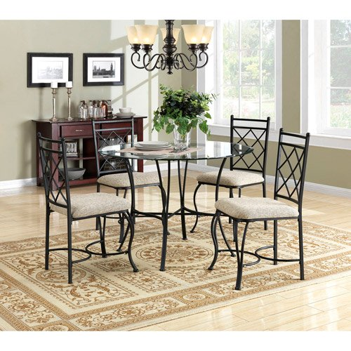 Kitchen Dinette Set Dining Room Furniture 5 Piece Metal Glass Top Table Chairs (Dinette Round)